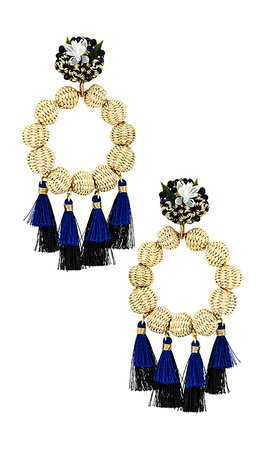 Mercedes Salazar Tassel Hoops in Cream & Blue | REVOLVE