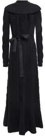 Grosgrain-trimmed Pointelle-knit Wool Maxi Dress