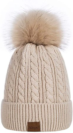 Alepo Womens Winter Beanie Hat, Warm Fleece Lined Knitted Soft Ski Cuff Cap with Pom Pom(Oatmeal) at Amazon Women's Clothing store