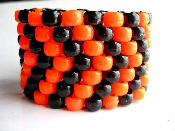 Orange Black Kandi Cuff Neon Bracelet Arrow Pattern Edm | Etsy