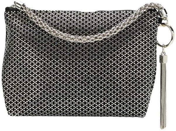 Callie diamond motif crystal hotfix clutch