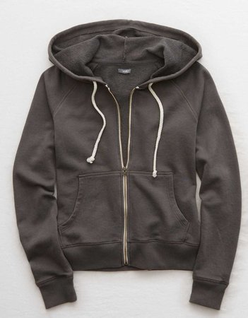 Aerie Beach Zip-Up Hoodie, Smoked Gray | Aerie for American Eagle