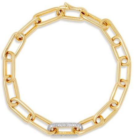 YELLOW GOLD DIAMOND CHAIN LINK BIANCA BRACELET