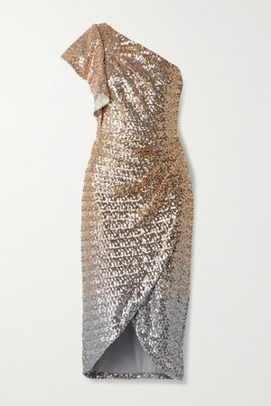 One-shoulder Ombre Sequined Tulle Midi Dress - Gold