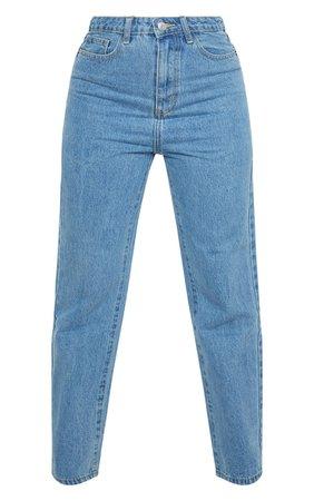 Plt Petite Mid Blue Straight Leg Jeans | PrettyLittleThing USA