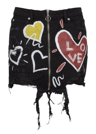 DISTRESSED BLACK DENIM MINI SKIRT WITH ZIPPER AND LOVE GRAFFITI DESIGN