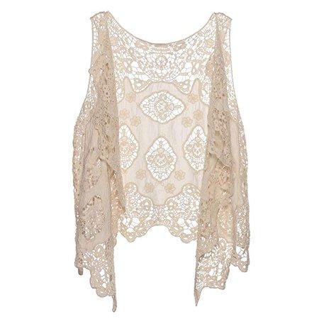 jastie Open Stitch Cardigan Boho Hippie Crochet Vest (Beige) at Amazon Women's Clothing store: