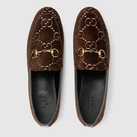 Brown GG Velvet Gucci Jordaan Loafer   GUCCI® US