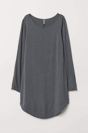 Short Viscose Dress - Gray