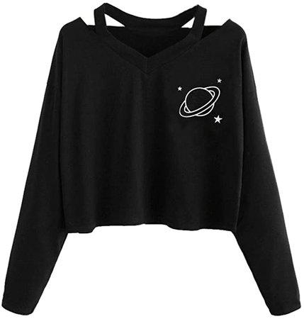 TOPUNDER Summer Women Casual Shirt Planet Printed Tank Short Sleeve Blouse Crop Tops at Amazon Women's Clothing store
