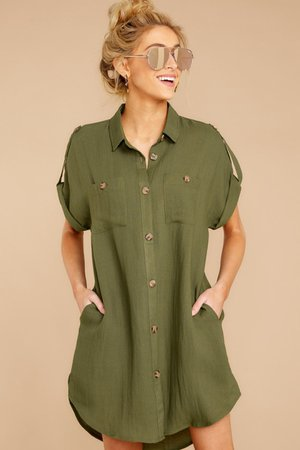 Charming Olive Green Shirt Dress - Short Button Up Dress - Dress - $42 – Red Dress Boutique