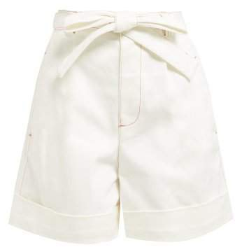 Belted High Rise Denim Shorts - Womens - Ivory