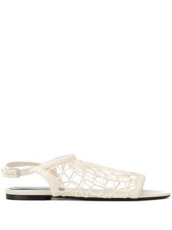 Sonia Rykiel Flat Fishnet Sandals 664109G White | Farfetch