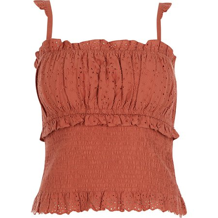 Rust sleeveless cutwork frill hem cami top | River Island