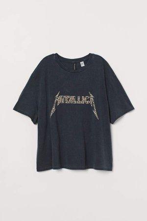 H&M+ T-shirt with Motif - Black
