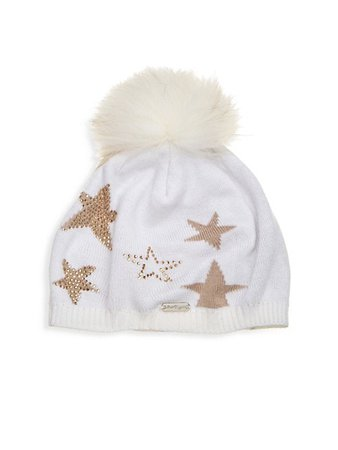 Bari Lynn Star Hat with Fox Fur Pom-Pom | SaksFifthAvenue