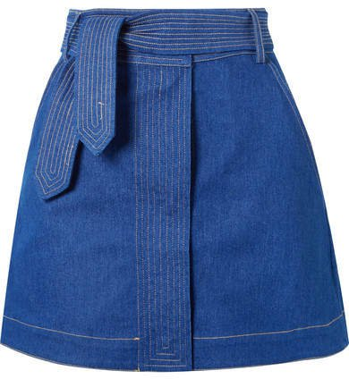 Belted Denim Mini Skirt - Blue