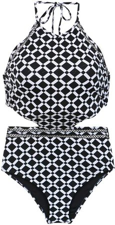 Printed Swimsuit With Cut Details