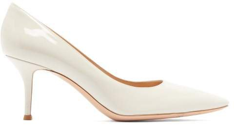 Square Toe 70 Patent Leather Pumps - Womens - Ivory
