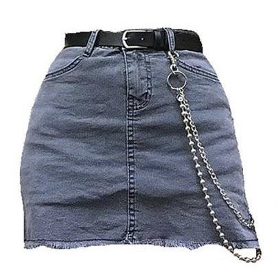 jean skirt with belt and chain