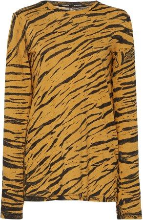Animal Print Distressed Cotton T-Shirt