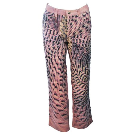 ROBERTO CAVALLI Peach Stretch Beaded Denim Size M 28L For Sale at 1stdibs