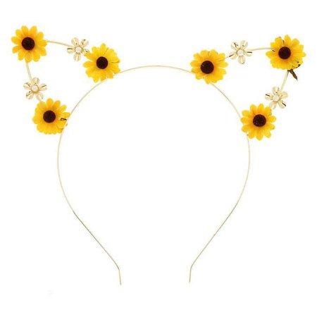 Sunflower Cat Ear Headband - Yellow