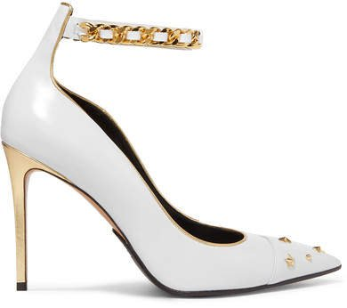 Embellished Metallic-trimmed Leather Pumps - Off-white
