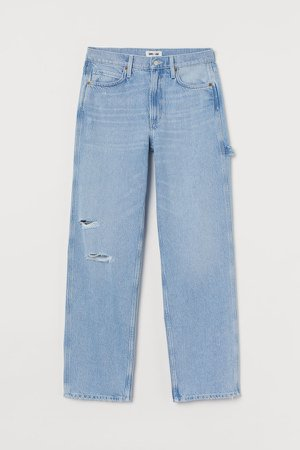 Slouch Straight High Jeans - Blue