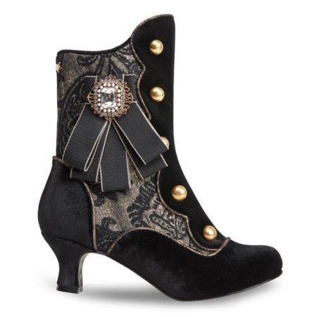 Joe Browns Duke Black Faux Leather Pedestal Heel Steampunk Victorian LARP Boots | eBay