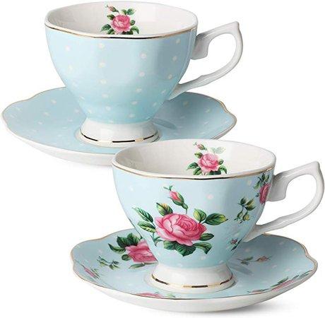 Amazon.com | BTäT- Floral Tea Cups and Saucers, Set of 2 (Blue - 8 oz) with Gold Trim and Gift Box, Coffee Cups, Floral Tea Cup Set, British Tea Cups, Bone China Porcelain Tea Set, Tea Sets for Women, Latte Cups: Saucers