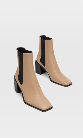 High heel ankle boots with square toes and side gores - Women's Just in | Stradivarius United States cream
