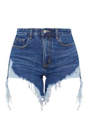 Dark Wash Distressed Denim Shorts   Denim   PrettyLittleThing USA