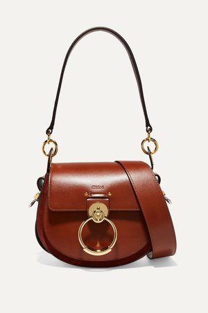 Brown Tess small leather and suede shoulder bag | Chloé | NET-A-PORTER