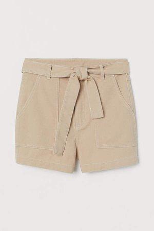 Tie-belt Twill Shorts - Beige