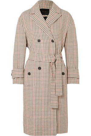 Beige Prince of Wales checked twill trench coat   Maje   NET-A-PORTER