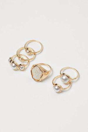 6-pak ringe - Guld/Hvid - DAME   H&M DK