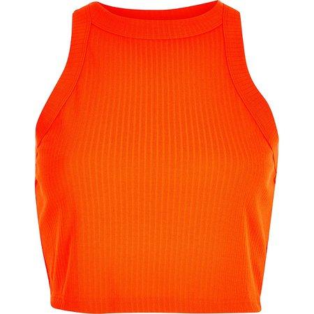 Neon orange fitted rib crop top - Tanks - Tops - women