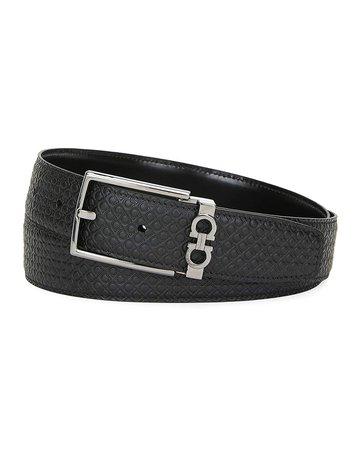 Salvatore Ferragamo Gancini-Embossed Leather Belt