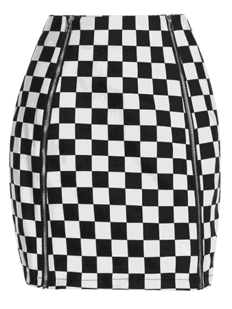 [30% OFF] [HOT] 2019 Zippers Mini Checkered Skirt In WHITE S | ZAFUL