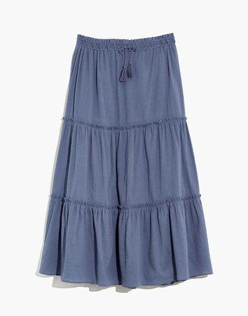 Drawstring Tiered Maxi Skirt
