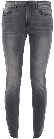 Le Skinny De Jeanne Cropped Frayed Mid-rise Skinny Jeans