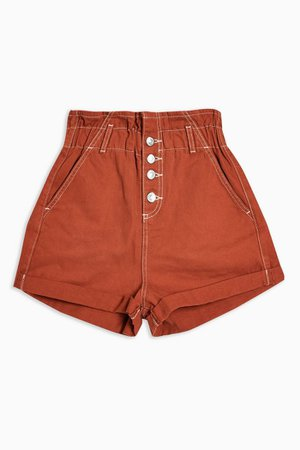Rust Paperbag Denim Shorts | Topshop rust