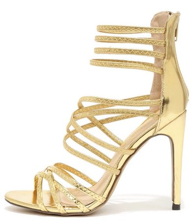 Gold strappy high heel