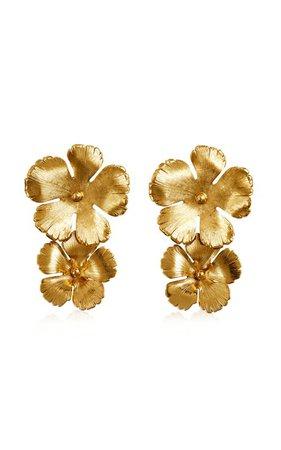 Collette Floral Brass Drop Earrings by Jennifer Behr | Moda Operandi