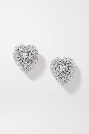 Silver Silver-tone crystal clip earrings | Alessandra Rich | NET-A-PORTER