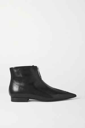 Zipit Vegetarian Leather Ankle Boots - Black