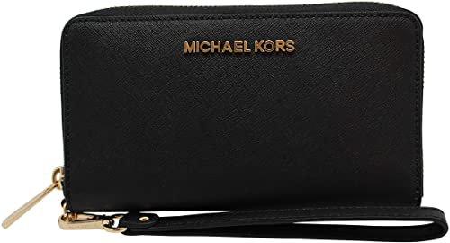 Amazon.com: Michael Kors Women's Jet Set Travel Large Smartphone Wristlet (Black/Gold): Clothing