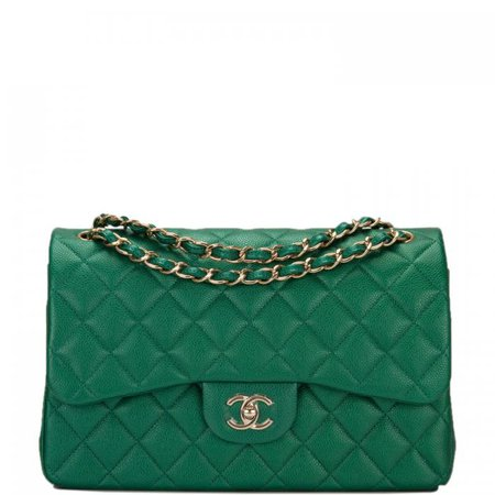 Chanel Green Shiny Quilted Caviar Jumbo Classic Double Flap Bag | World's Best