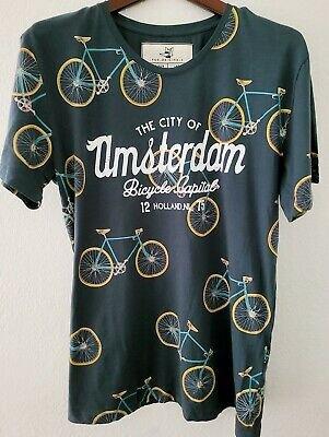 Fox Originals Amsterdam Bicycle Bike All Over T-Shirt Men Size L Blue | eBay
